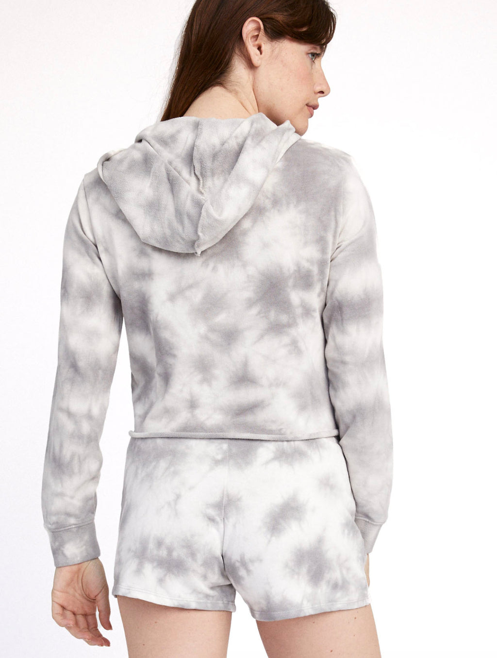 Alternative Apparel Crop Hoodie in Grey Tie Dye