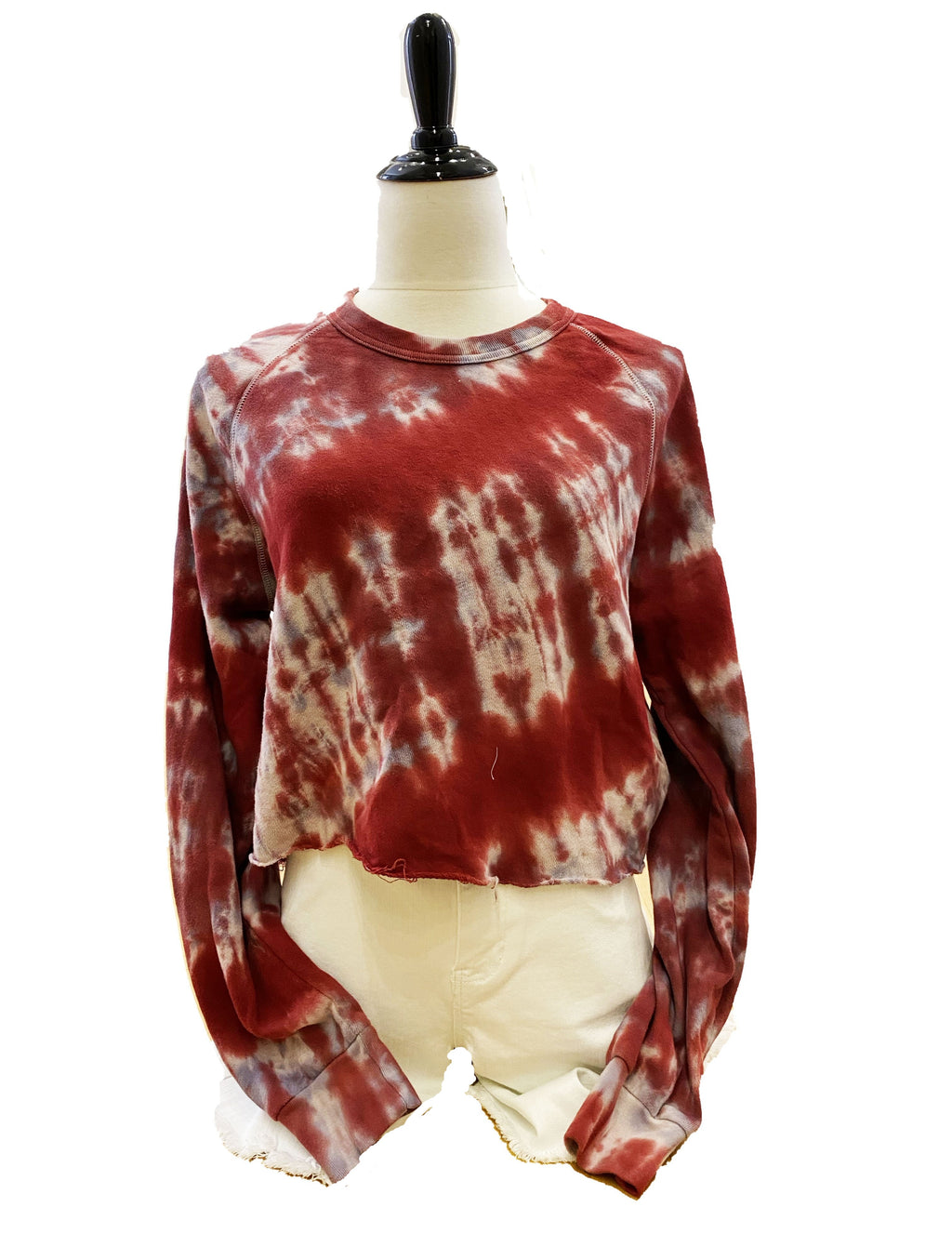 Alternative Apparel Terry Pullover in Red Tie Dye