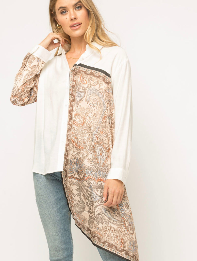 Mystree Scarf Mix Media Shirt in Ivory/Brown