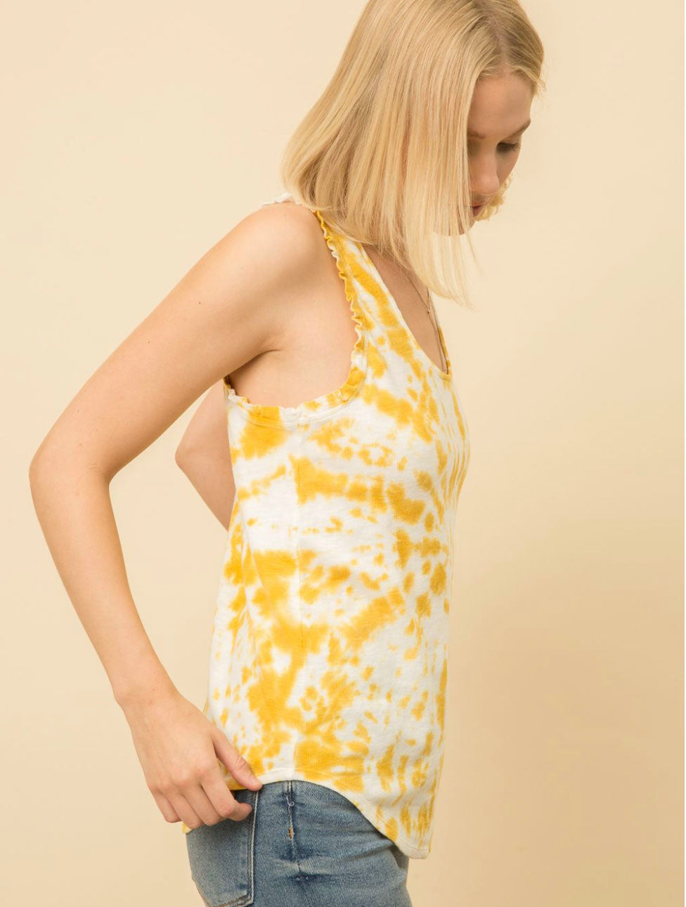 Mystree Sweater Tank in Mustard Tie Dye