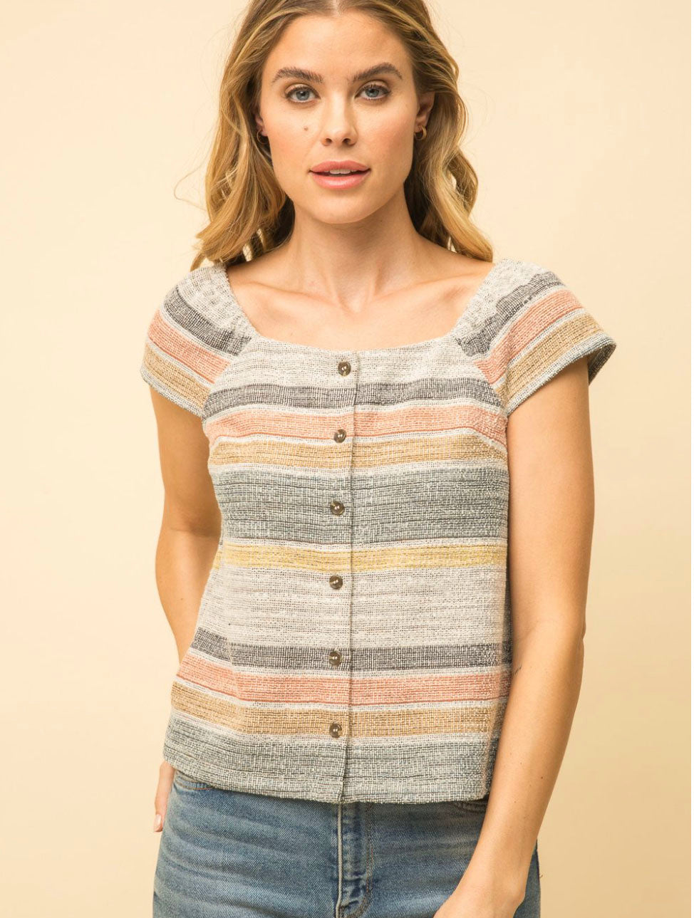 Mystree Striped Tweed Top in Taupe/Navy