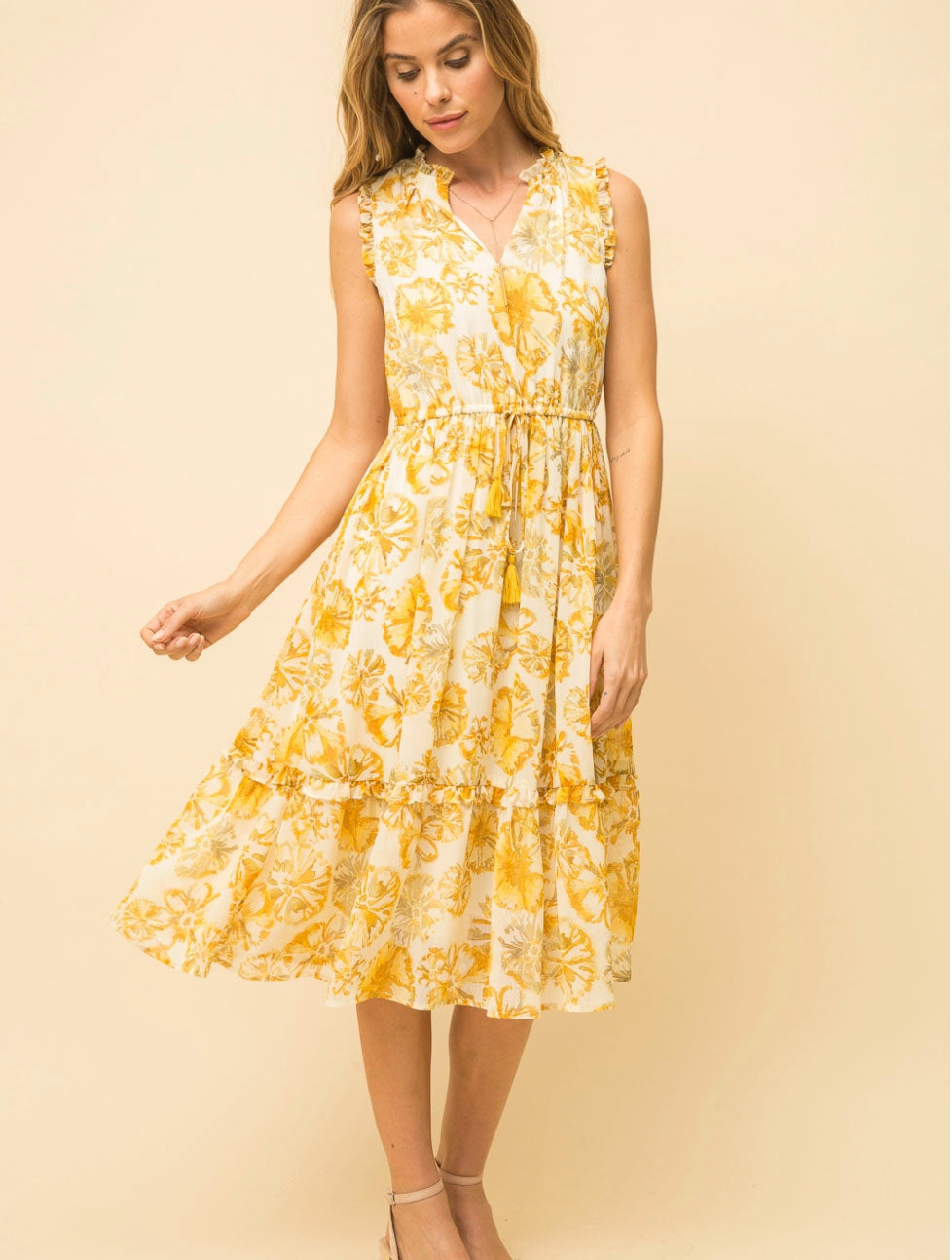 Mystree Print Ruffle Midi Dress in Yellow