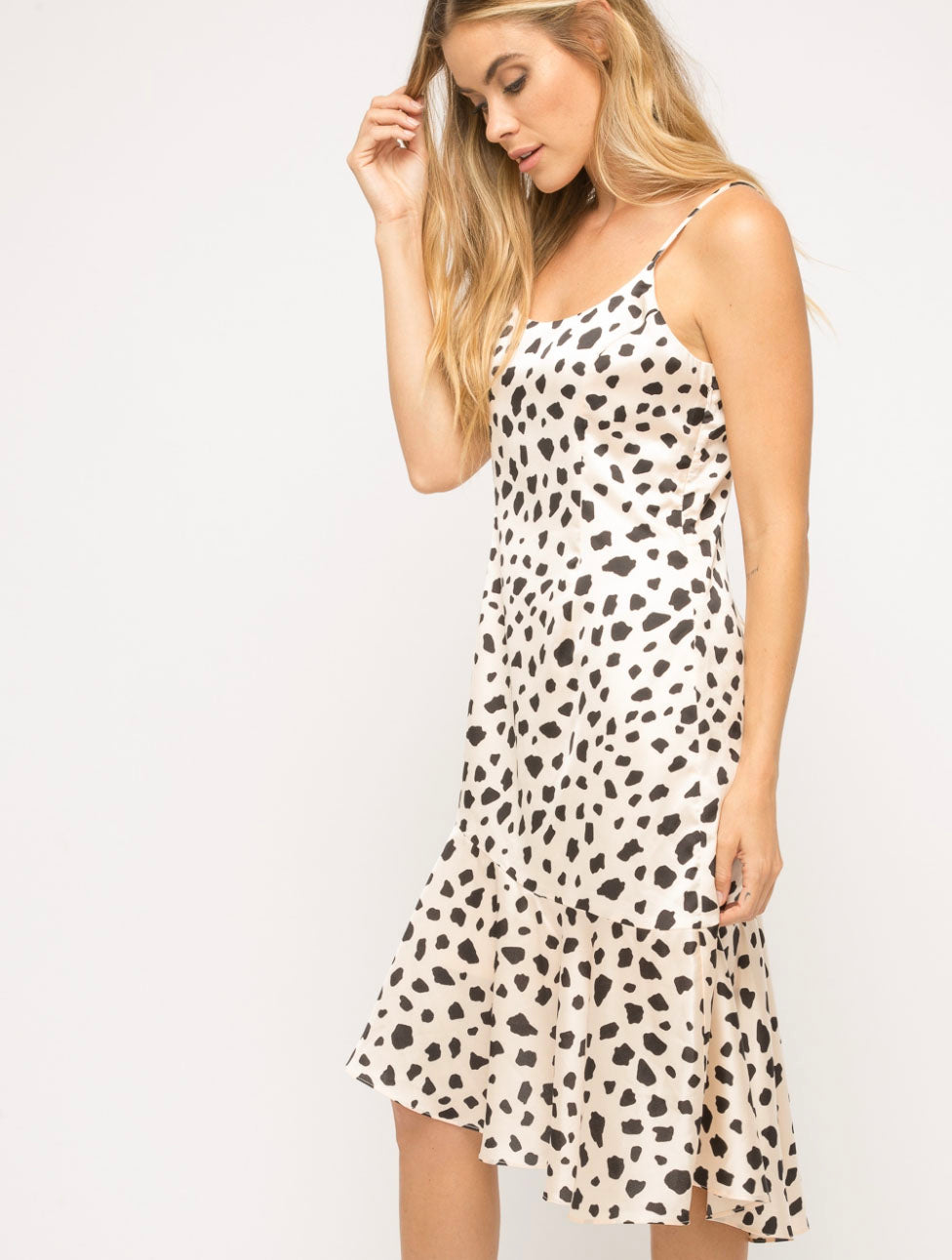 Mystree Satin Midi Dress in Leopard