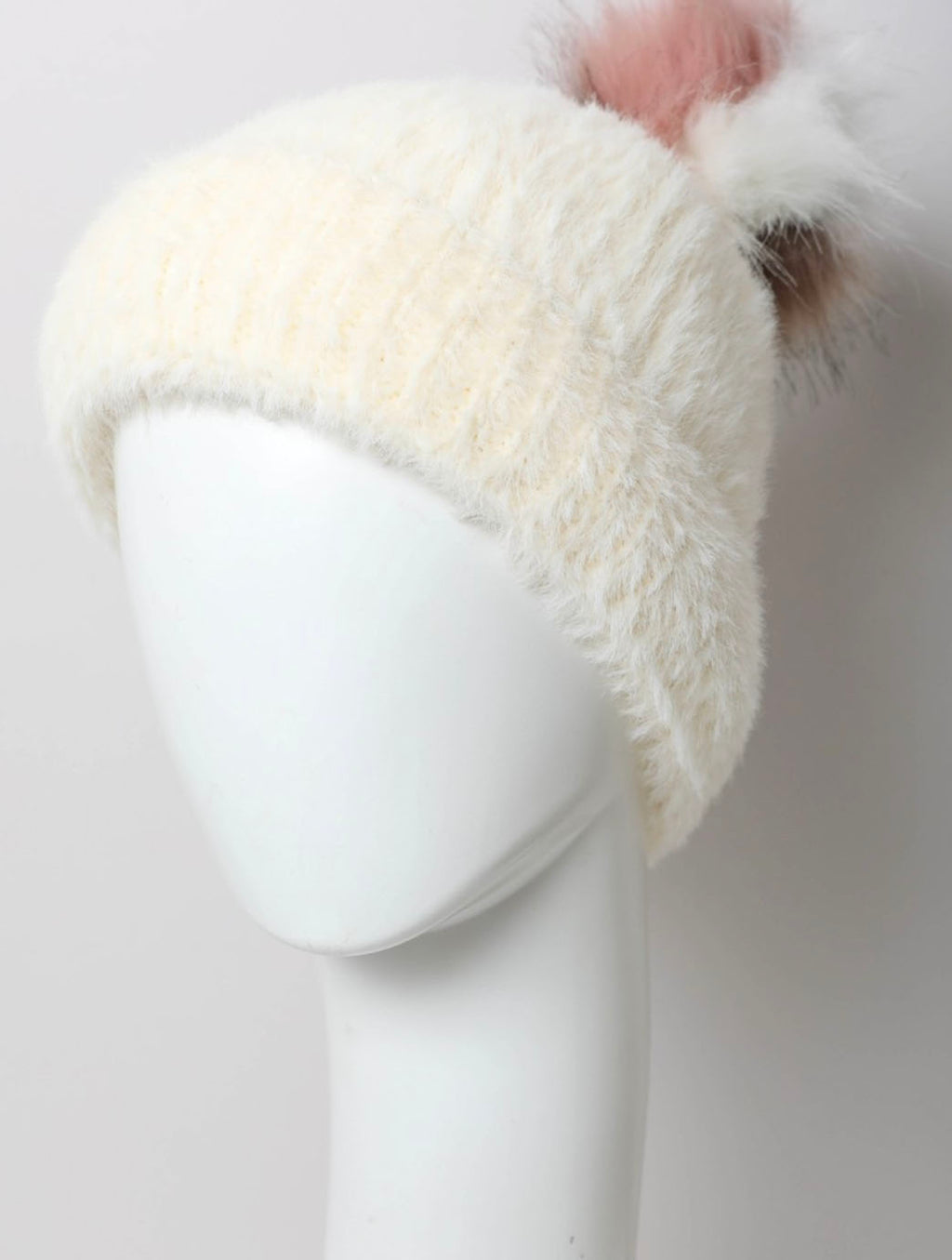 Faux Fur Pom Pom Hat in Ivory