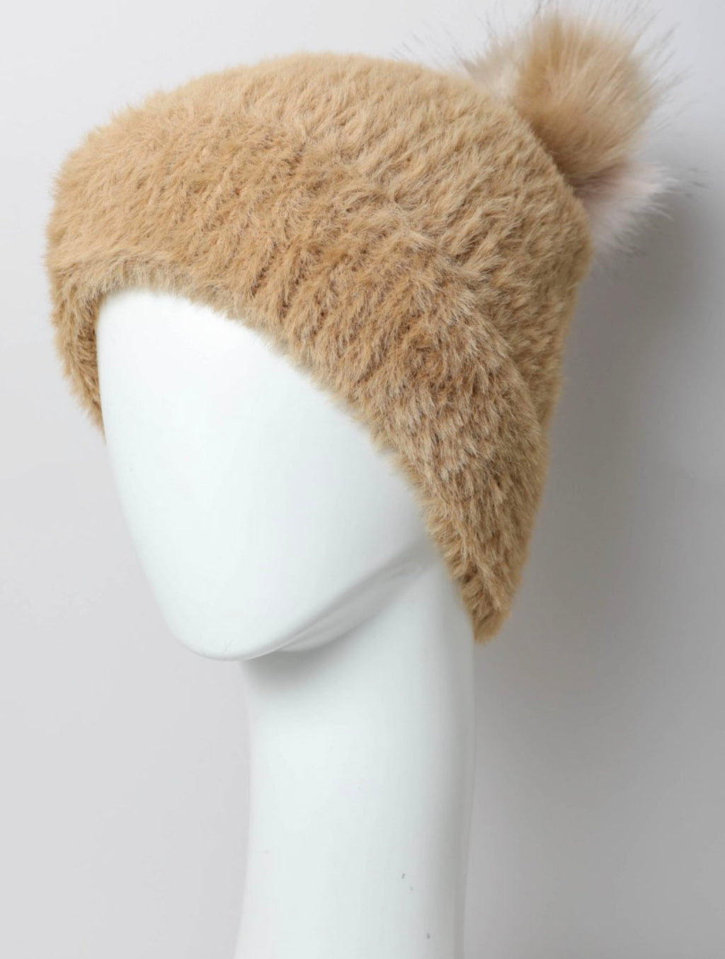 Faux Fur Pom Pom Hat in Camel