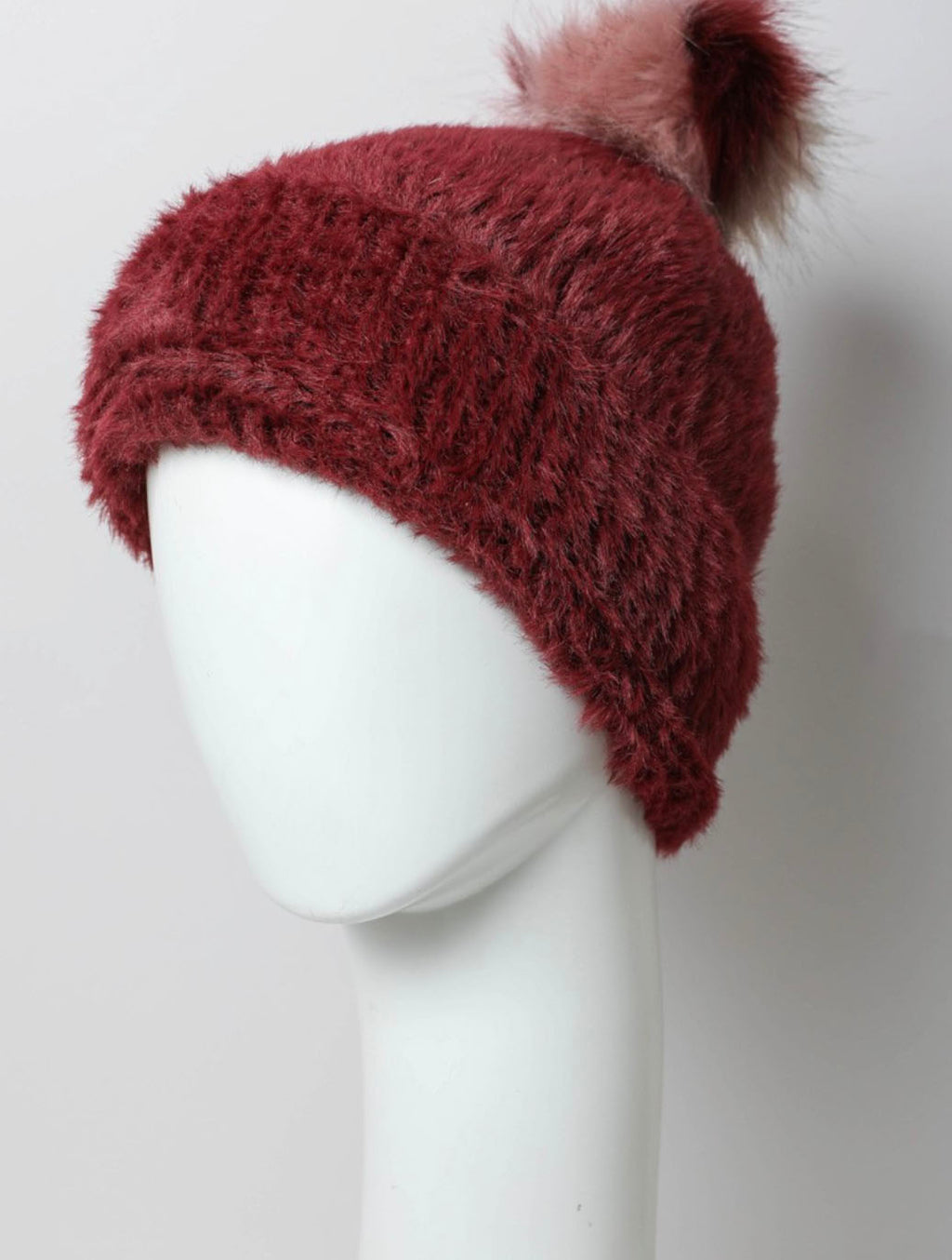 Faux Fur Pom Pom Hat in Burgundy