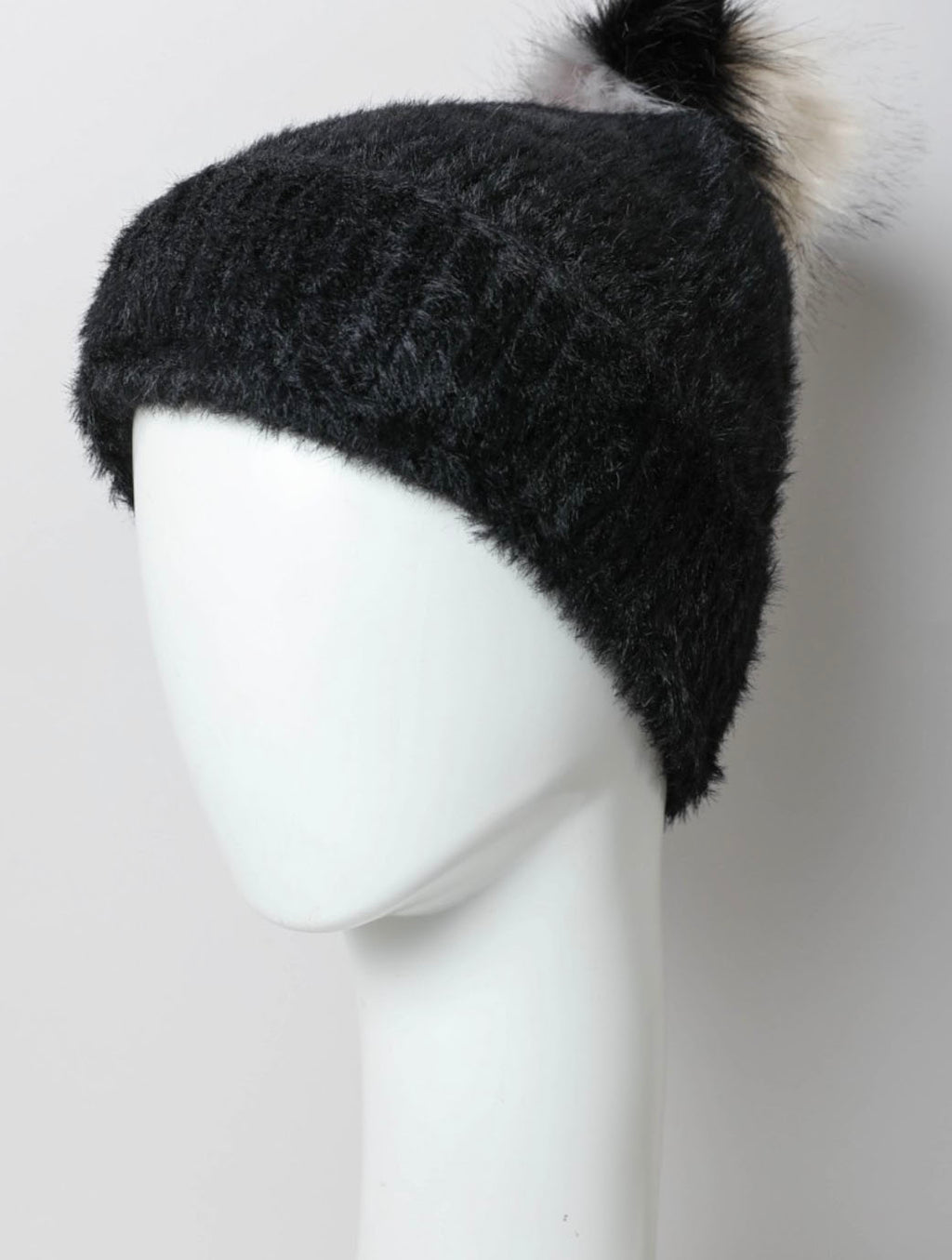 Faux Fur Pom Pom Hat in Black