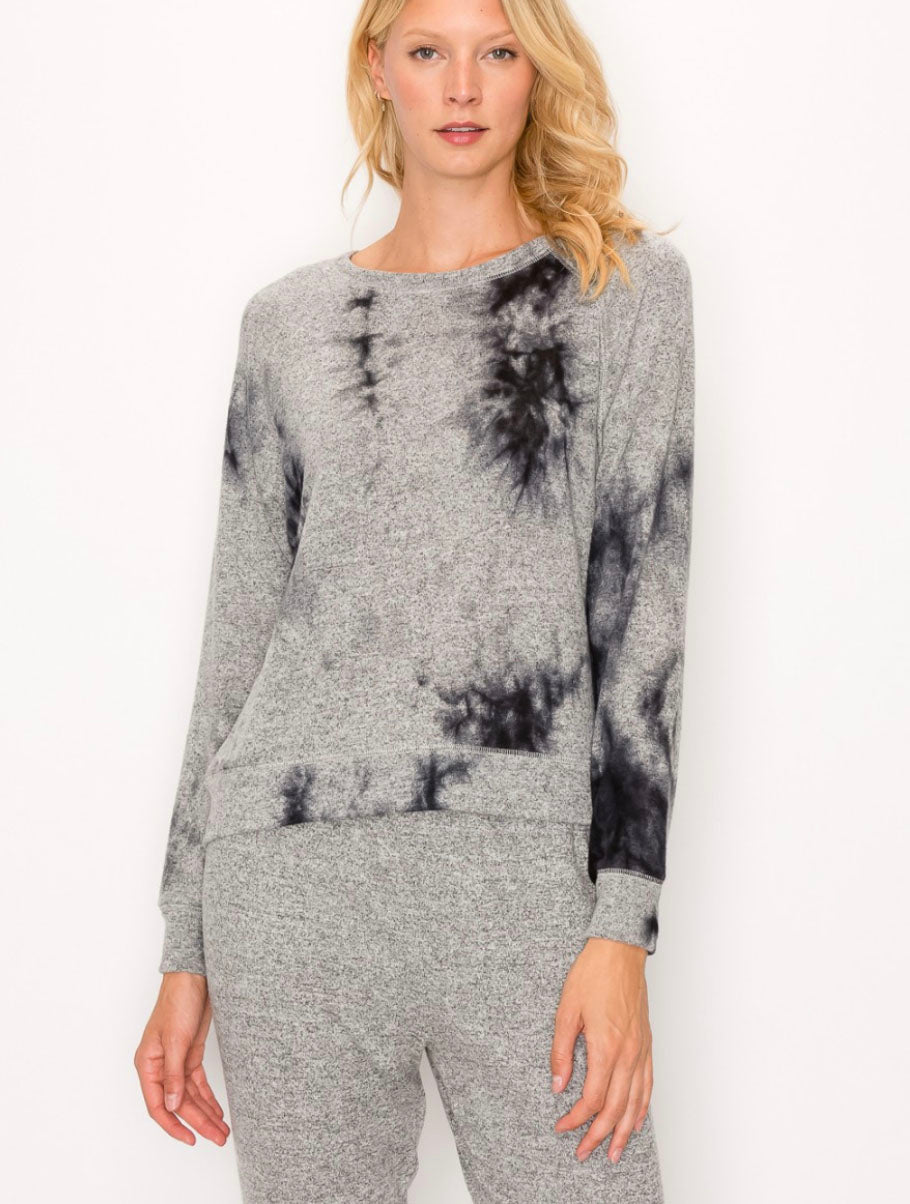 Coin 1804 Cozy Tie Dye Sweatshirt Grey/Charcoal