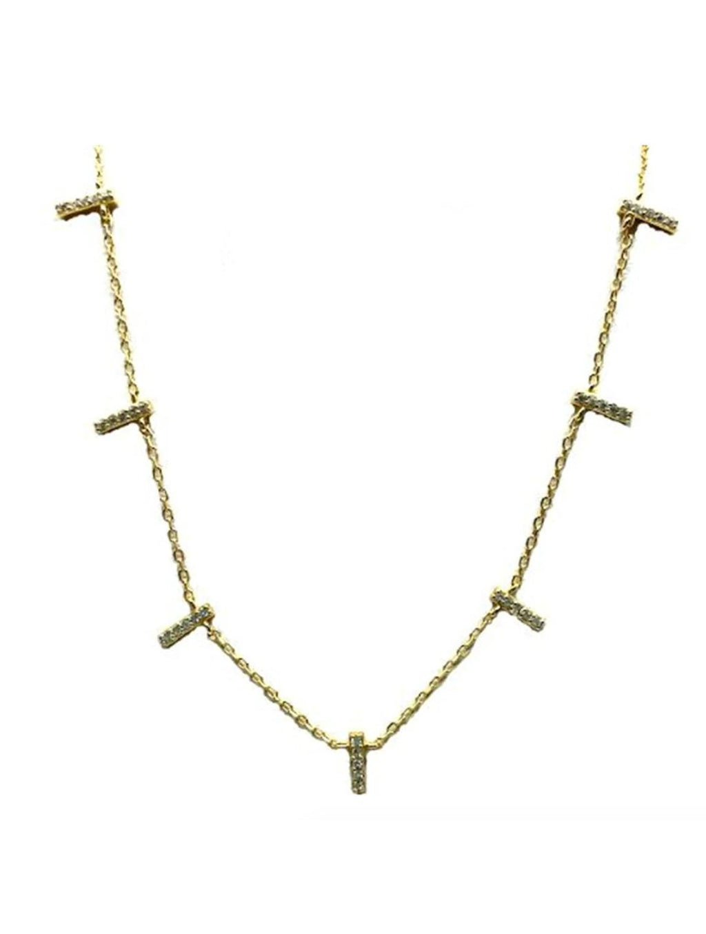 Athena Designs Pave Bars Necklace in Gold