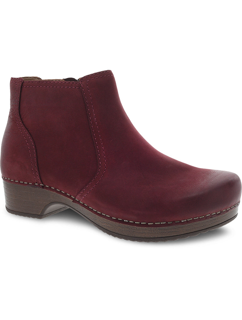 Dansko Barbara Burnished Nubuck Clog Boot in Wine