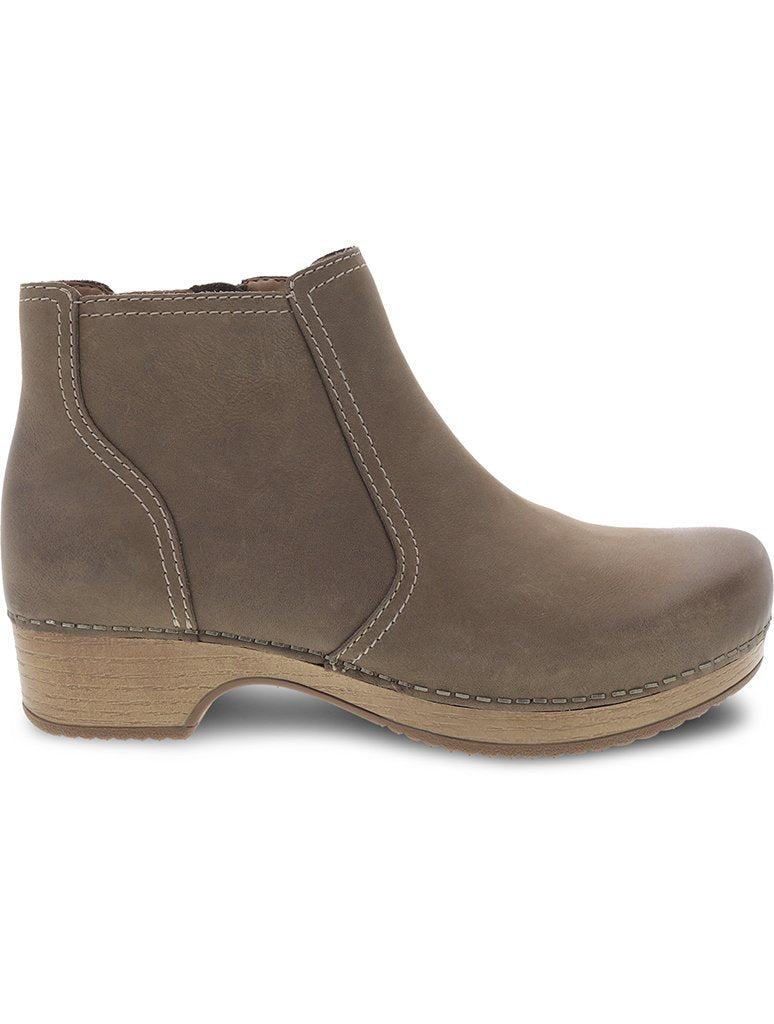Dansko Barbara Burnished Nubuck Clog Boot in Taupe