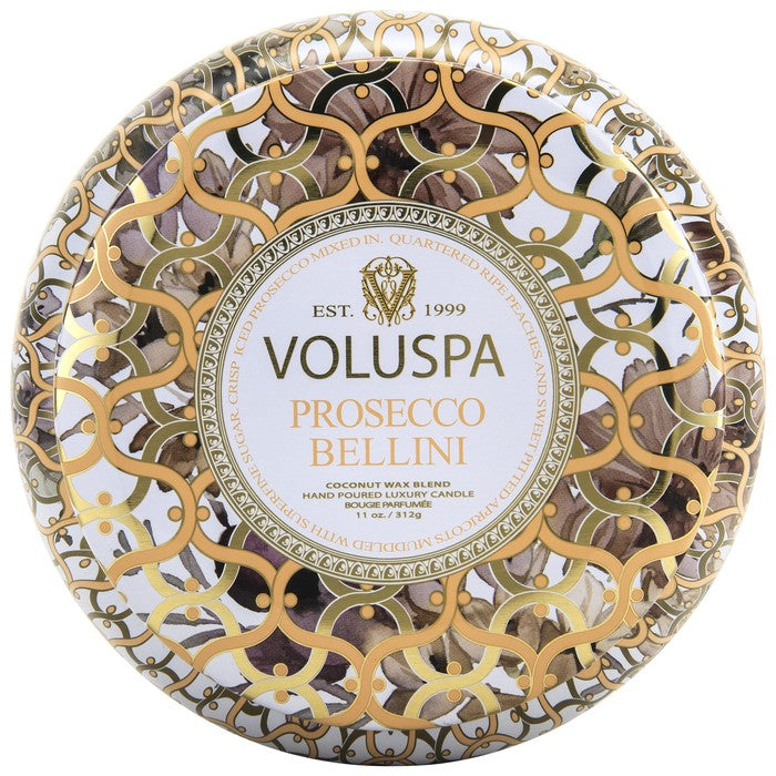 Voluspa Maison Metallo 2 Wick Candle Tin in Bellini
