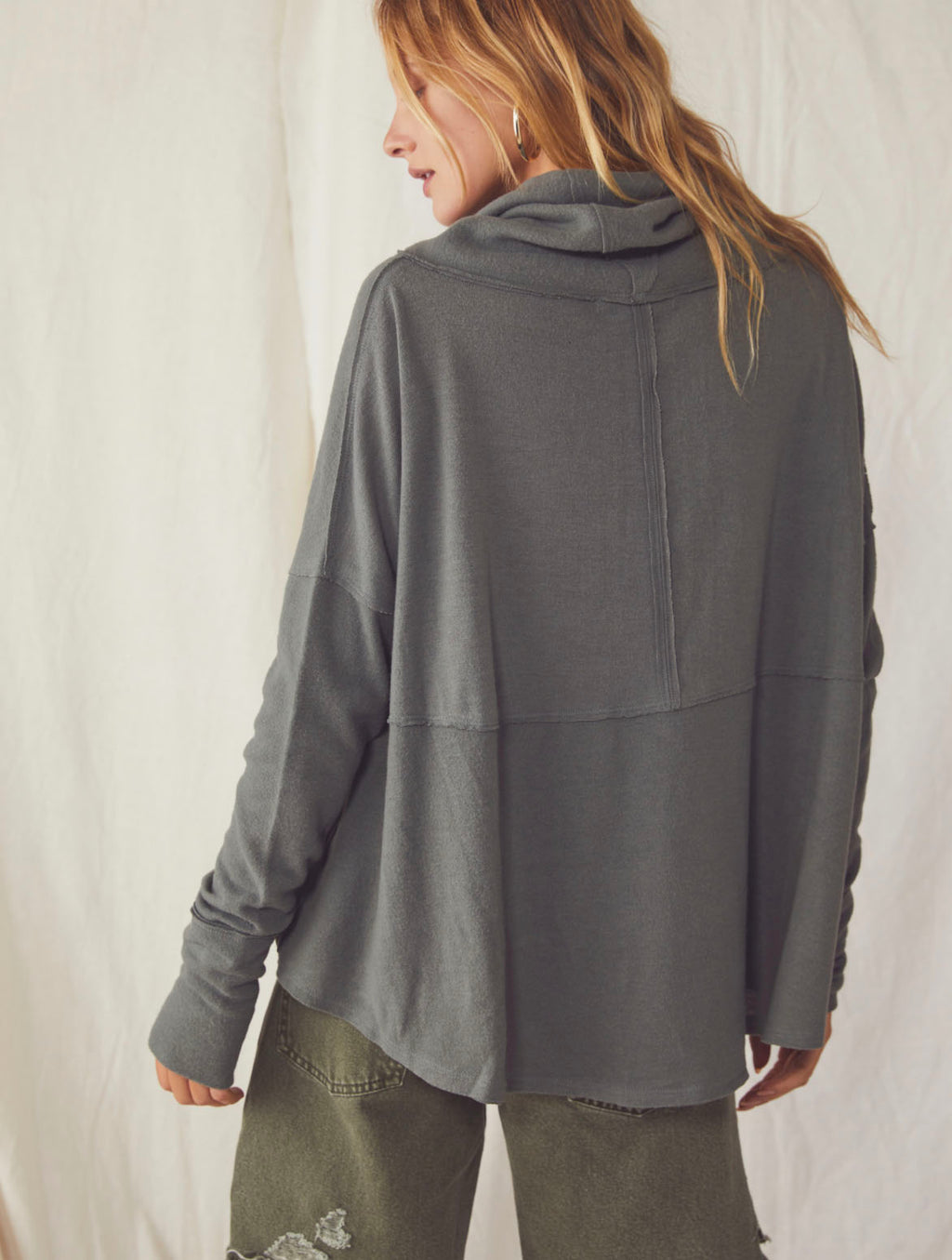 Free People Cozy Time Funnel Top in Pine