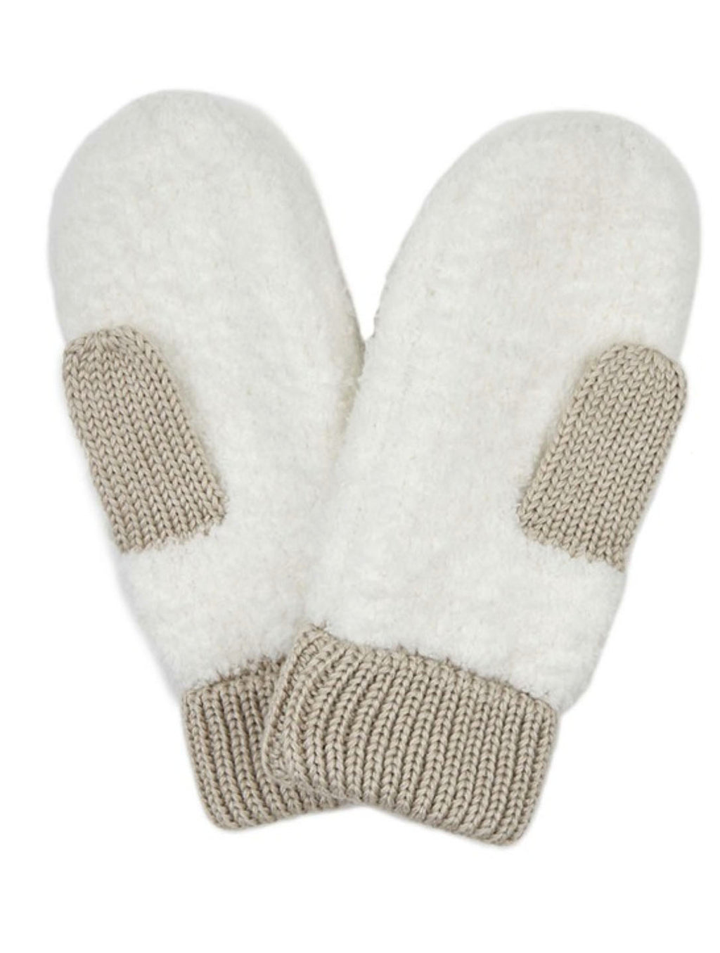 Color Block Mittens in Ivory