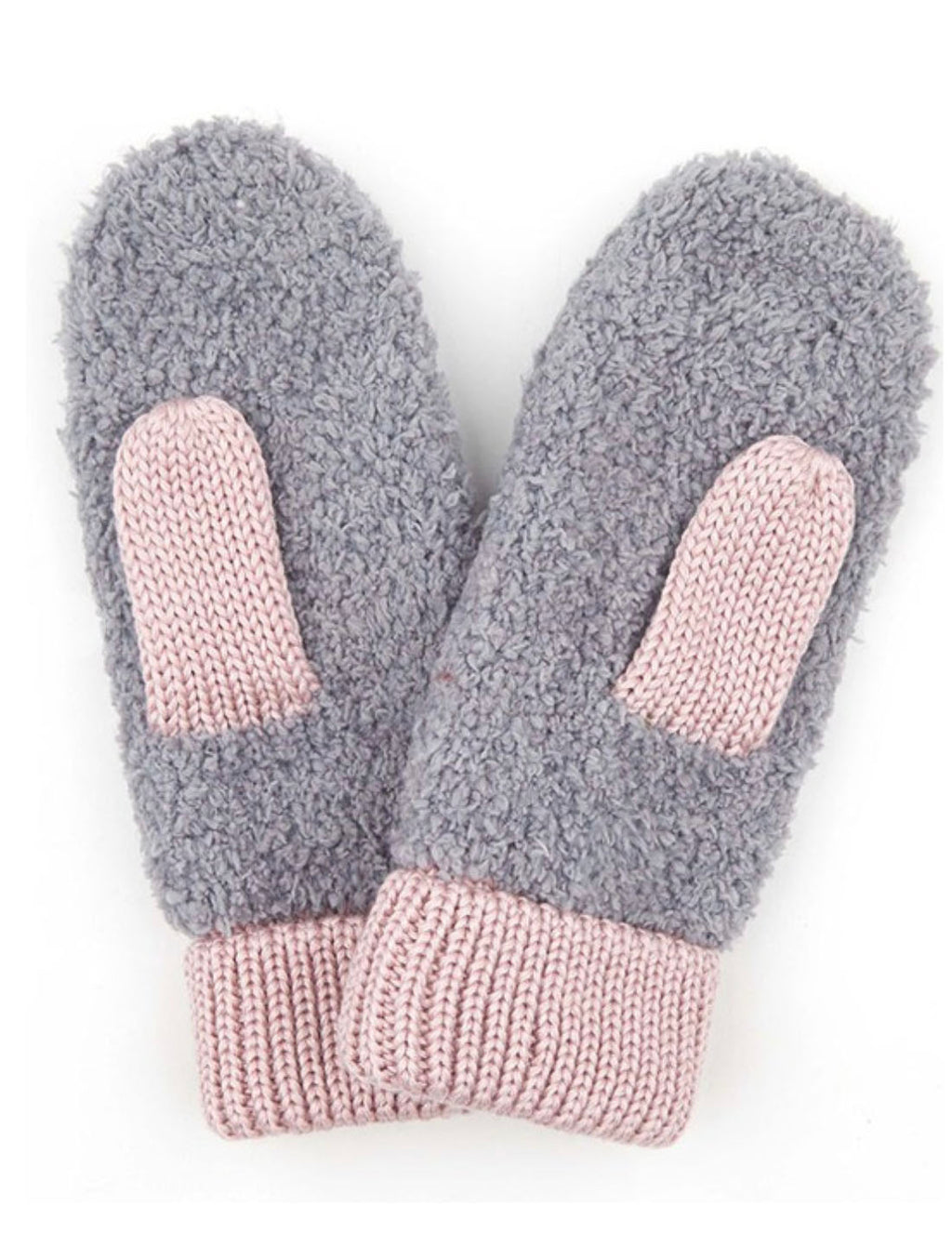 Color Block Mittens in Light Melange