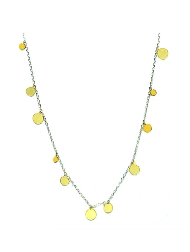 Athena Designs Dainty Disk Dangle in Gold on Silver Chain