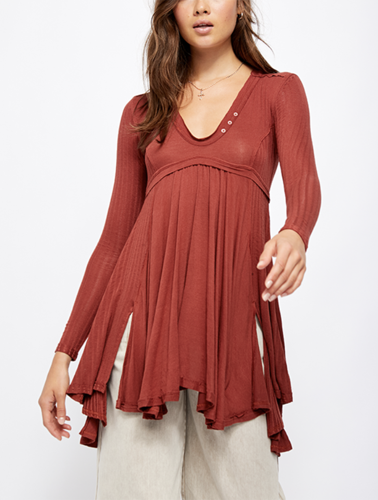 Free People Birdie Henley in Brown