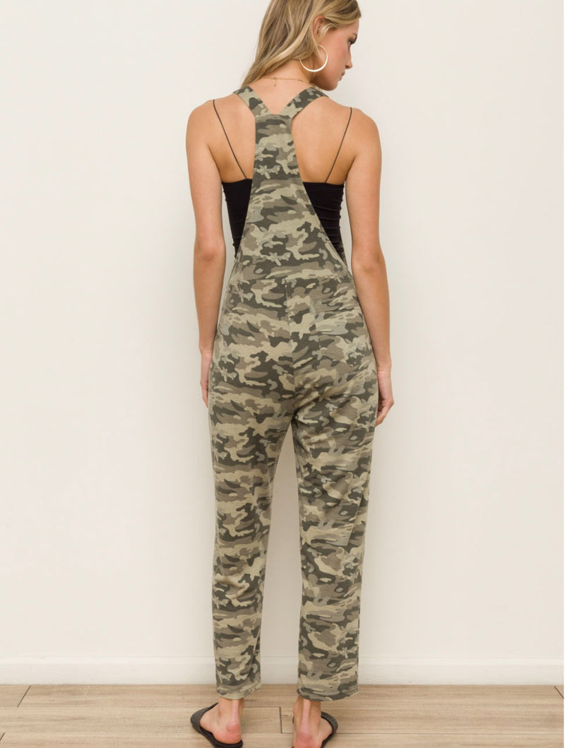 Hem & Thread Camo Overalls in Olive