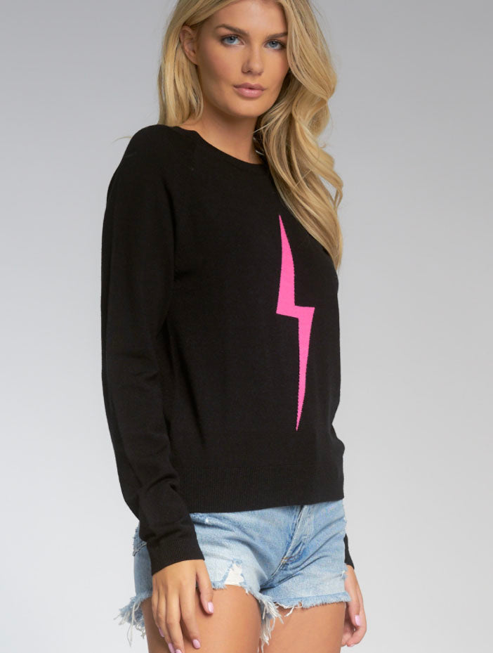Elan Lightning Bolt Sweater in Black/Pink
