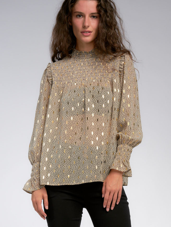 Elan Smocked Neck Top in Taupe