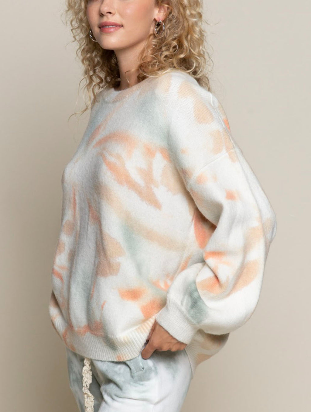 Pol Tie Dye Balloon Sweater in Autumn Dream