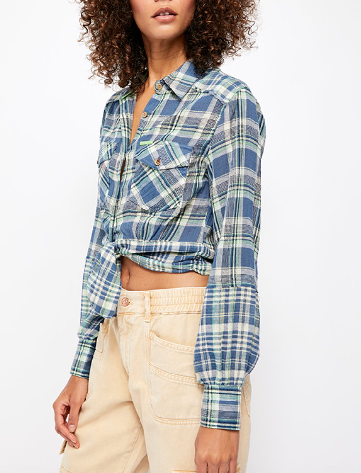 Free People First Bloom Plaid Top in Blue