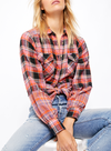 Free People First Bloom Plaid Top in Red