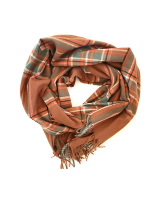 CRC Oversized Scarf in Camel Plaid