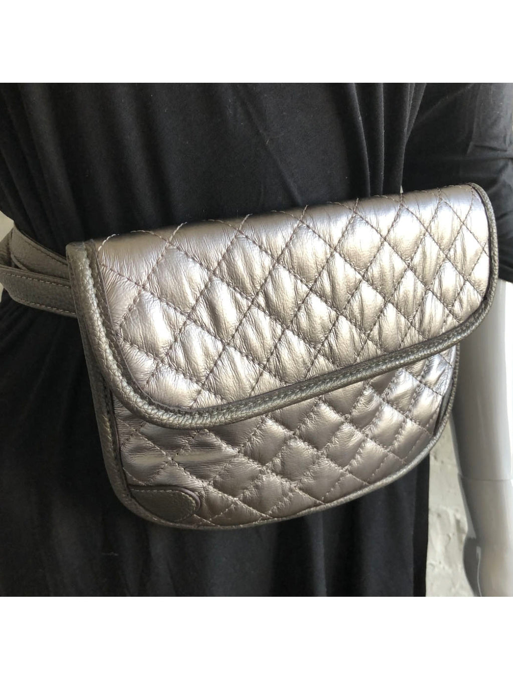 CRC Quilted Belt Bag in Black