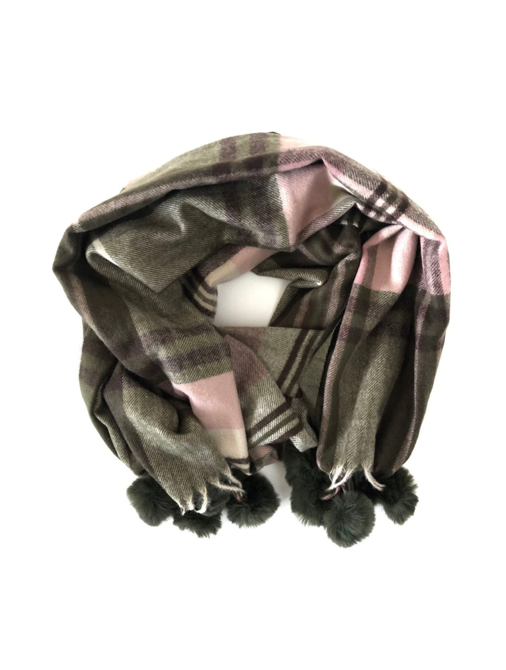 CRC Plaid Pom Scarf in Green/Pink