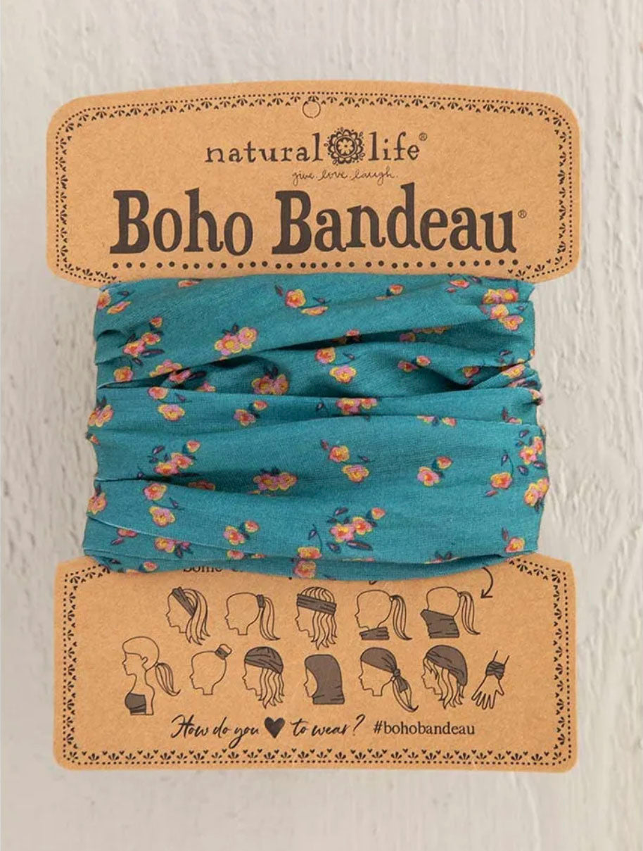Natural Life Boho Bandeau in Floral Turquiose