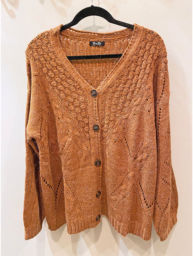 Miss Me Bell Sleeve Cardigan Sweater in Brown