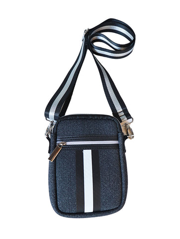 Haute Shore Mark Shine Crossbody Bag in Charcoal with Stripe