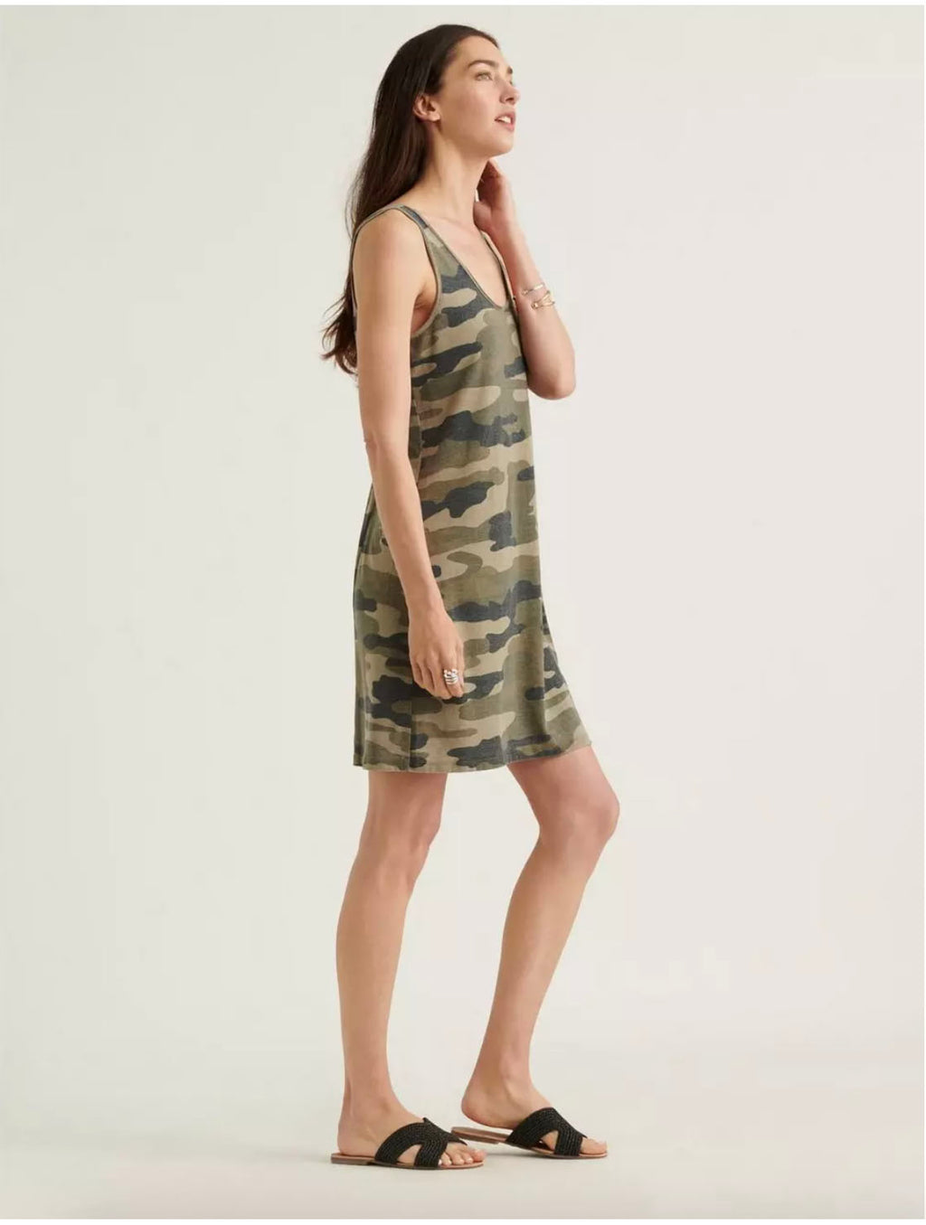 Lucky Brand Tank Dress in Green Camo