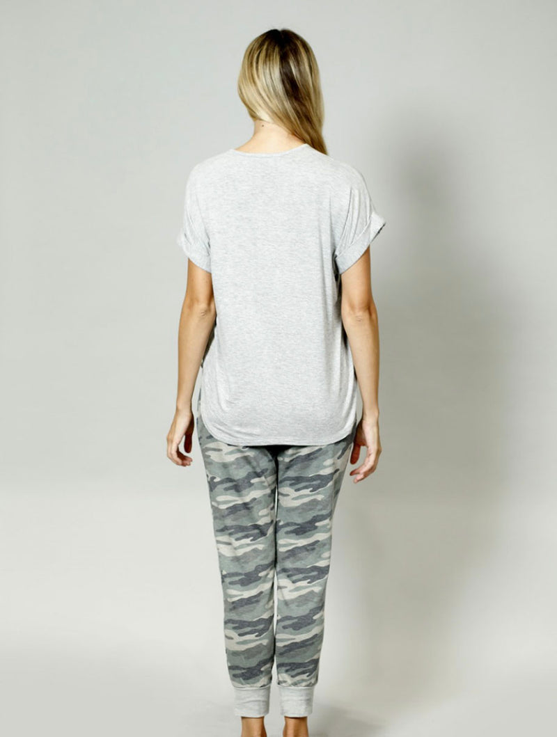Coin 1804 Rolled Sleeve Tee in Heather Grey