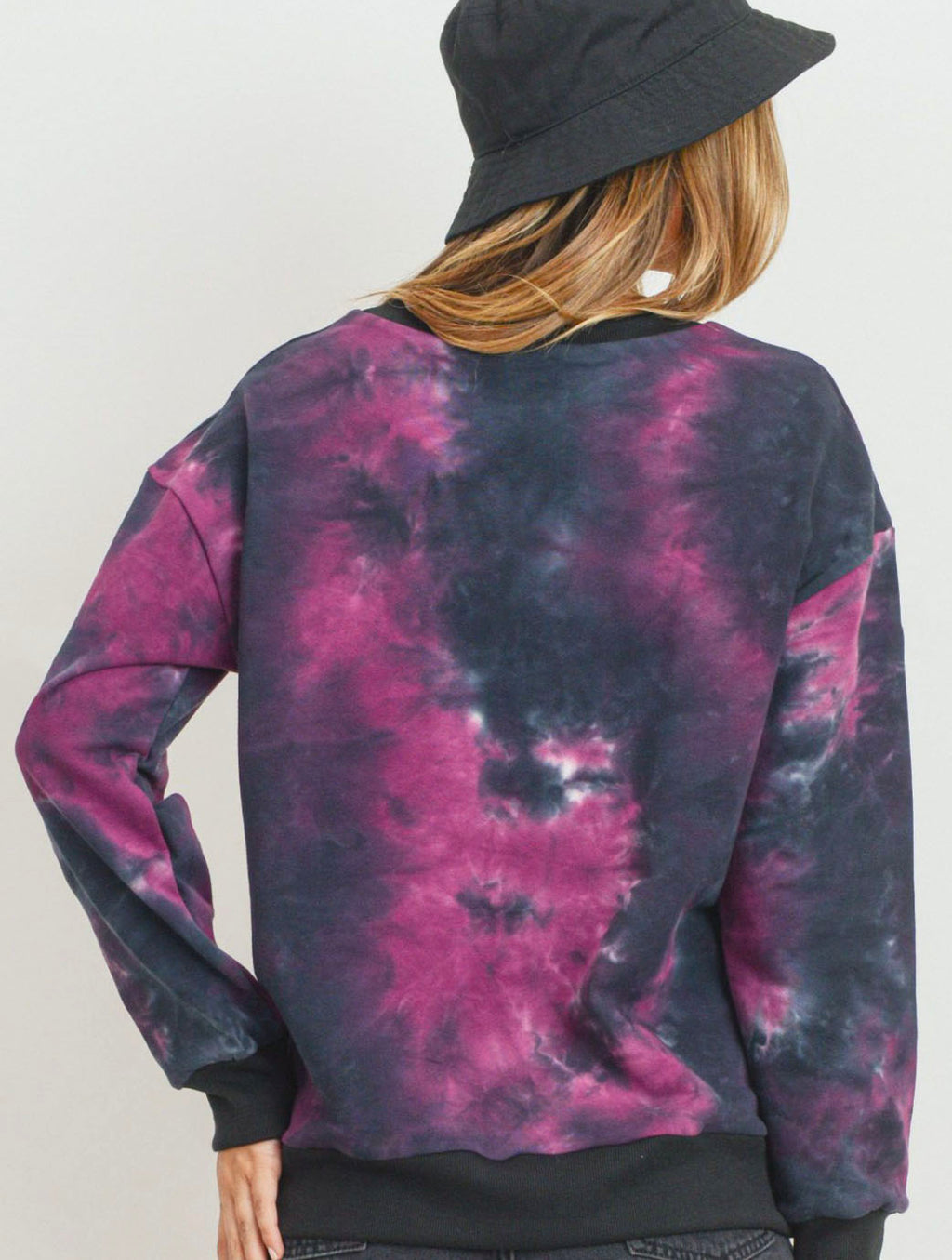 Paper Crane Tie Dye Crew Neck in Black/Purple