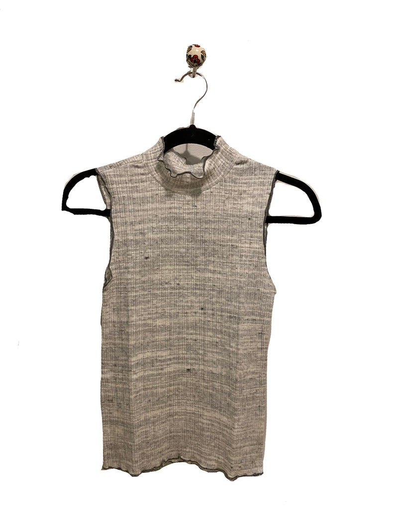 Coin 1804 Contrast Stitch Tank in Ivory/ Heather Grey