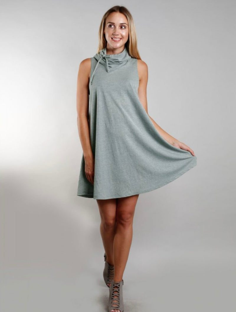 Coin 1804 Funnel Neck Dress in Green