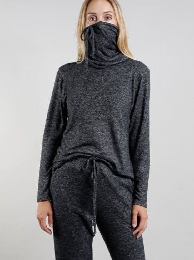 Coin 1804 Long Sleeve Pull Up Top in Charcoal