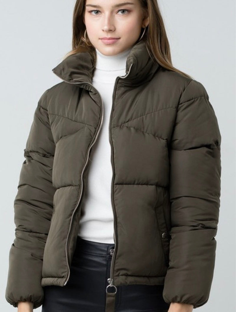 Trend Notes Puffer Jacket in Olive