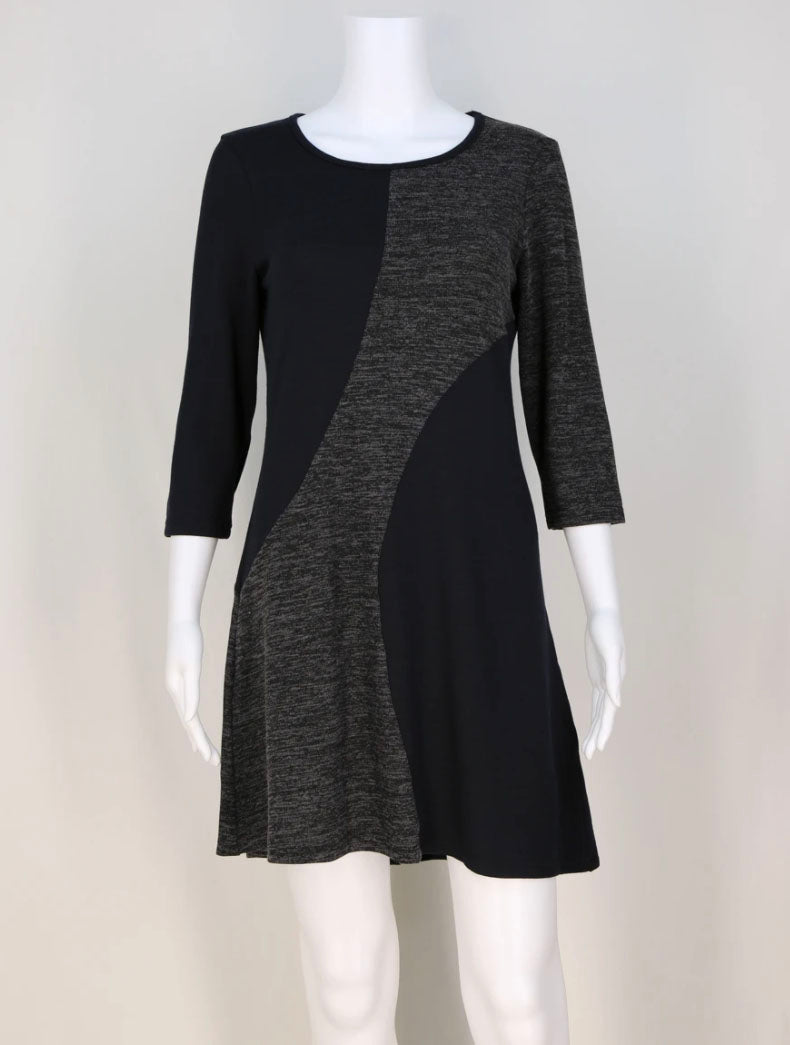 Neesha Swirl Block Dress in Black/Charcoal