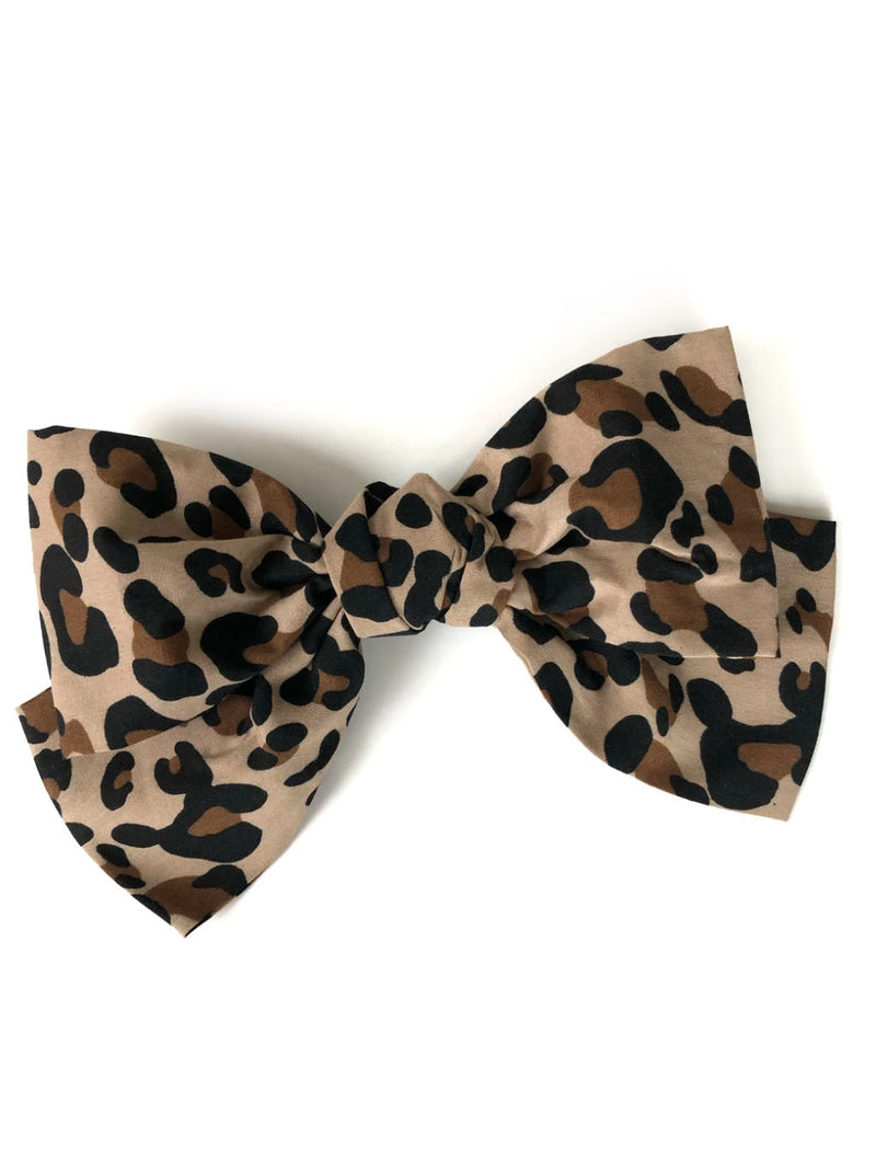 CRC Oversized Bow in Tan Leopard