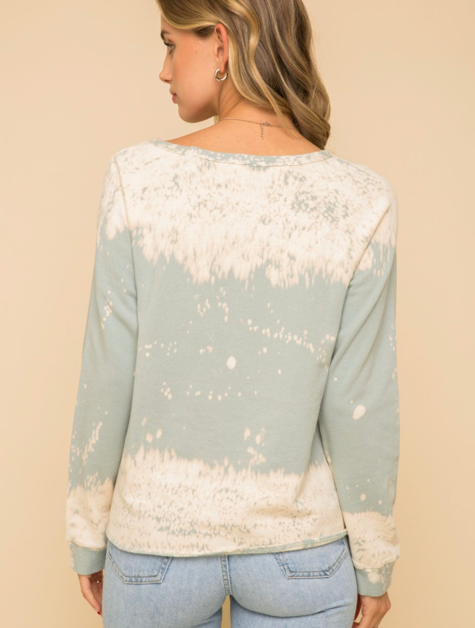 Hem & Thread Front Tie Sweater in Mint