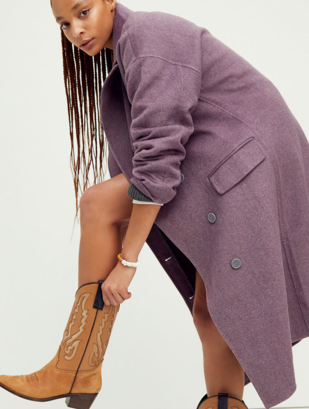 Free People Adore You Tailored Coat in Heather Plum