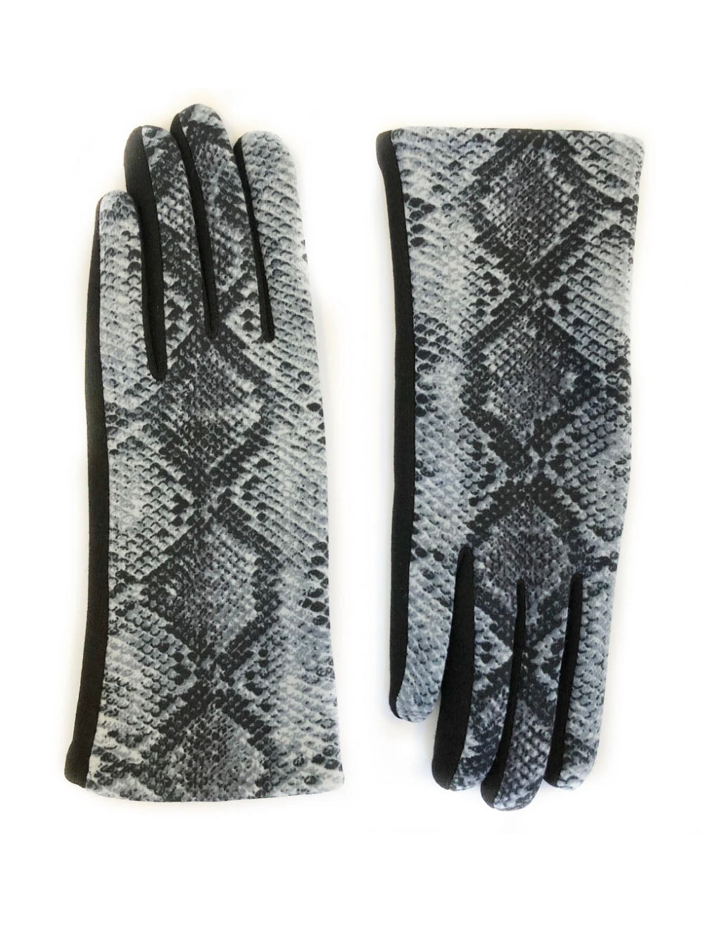 Touch Screen Gloves in Grey Blue Snake