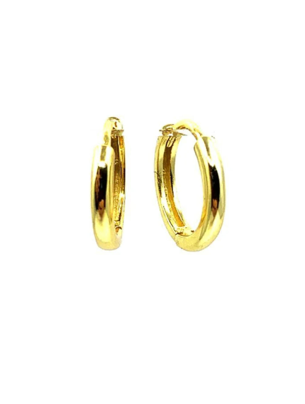 Athena Designs Small Huggie Hoops in Gold