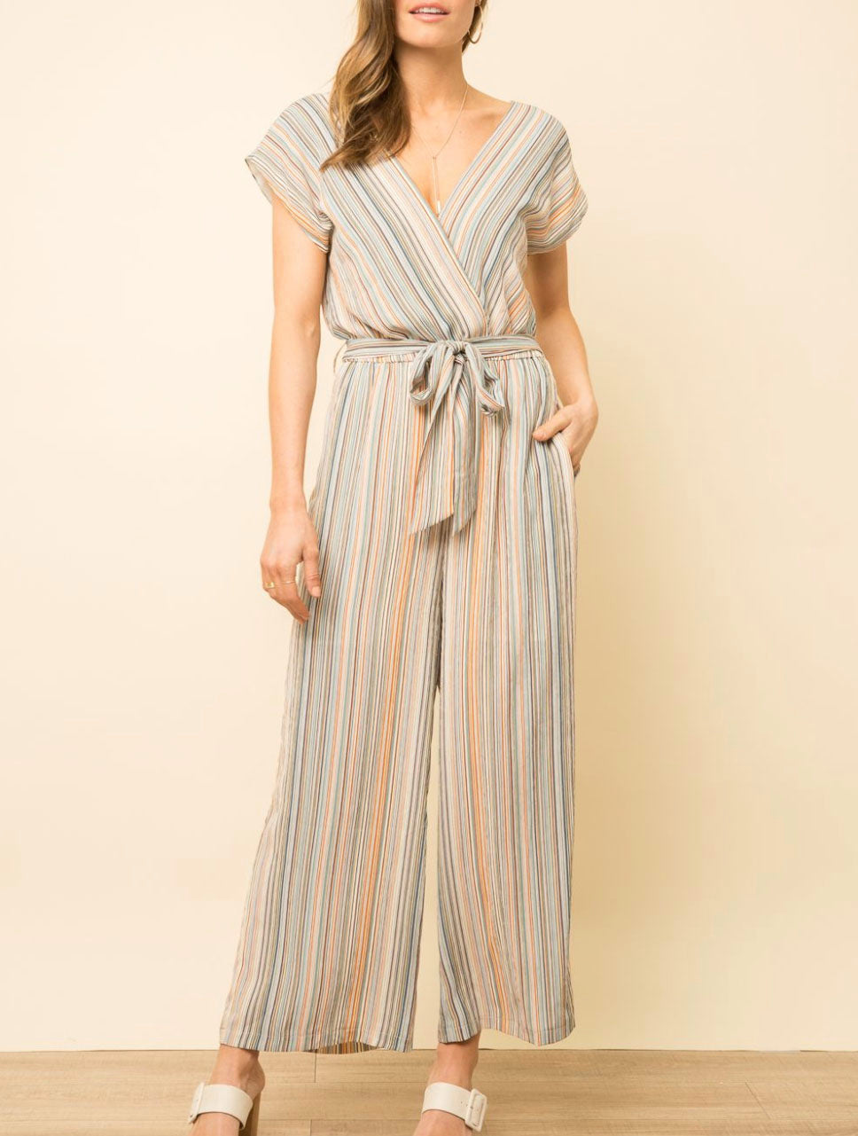 Mystree Stripe Jumpsuit in Sage