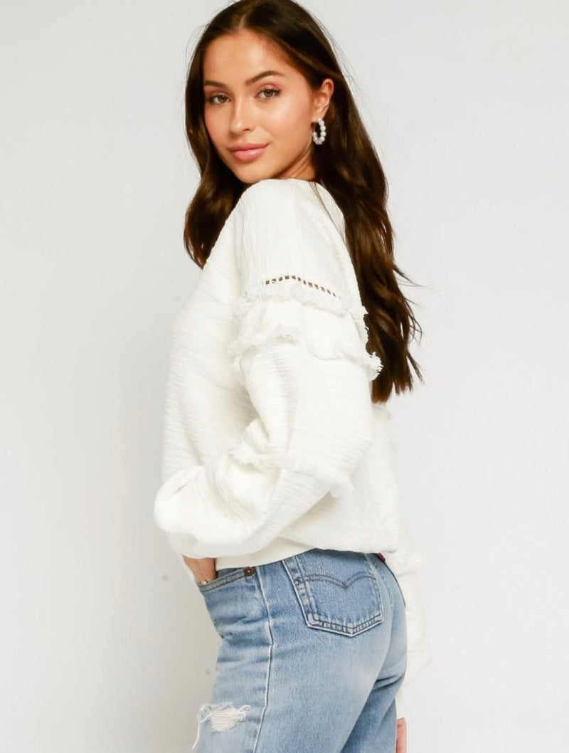 Olivaceous Fringe Sweater in White