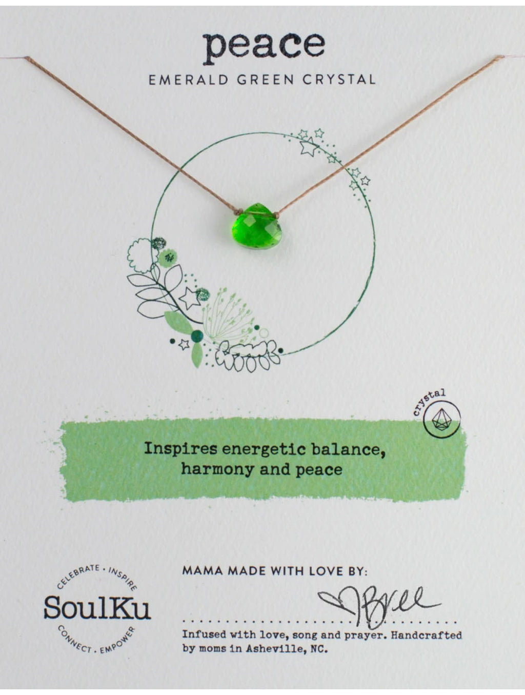 "SoulKu Jewelry Soul Shine ""Peace"" Necklace in Emerald Green"