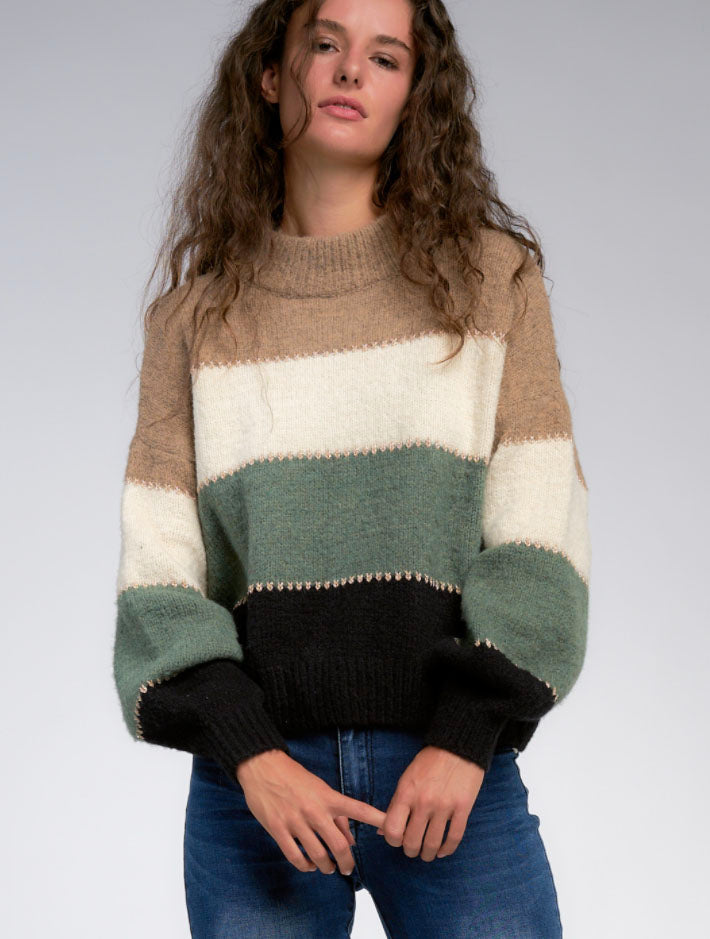 Elan Bubble Sleeve Sweater in Taupe Multi